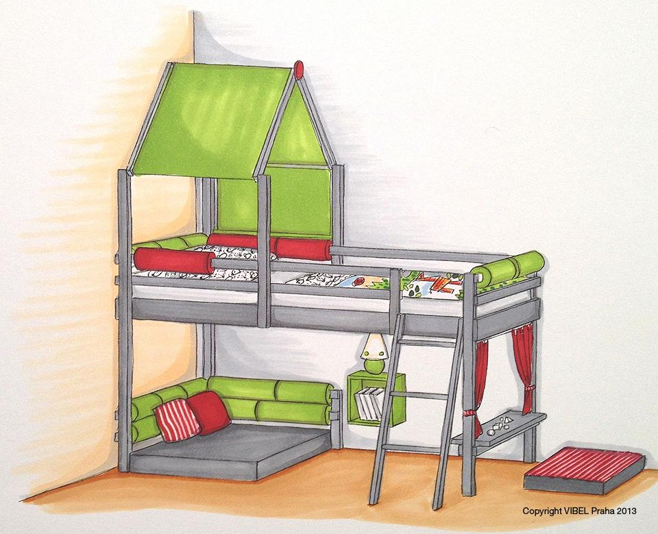 <p>Přestavba první velké postýlky na polovysokou postel. Pod ní je vytvořen útulný hrací koutek a divadélko.</p>