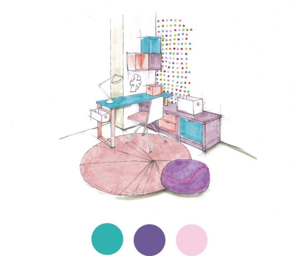 <p>V dívčím pokoji jsme použili doplňkové odstíny Cherry Blossom a Peach Bud. V kombinaci s našimi novými tapetami tak pracovní zákoutí vyzařuje stejnou míru energie a nápadů jako má jeho majitelka.</p> <p></p>