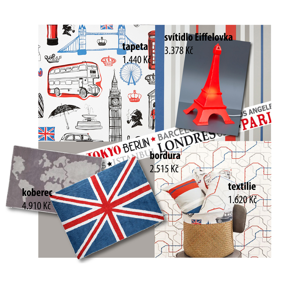 <p>Pro všechny, co se rádi vydají objevovat svět, tu máme metropolitně laděnou kolekci</p> <p>v nadčasové barevné kombinaci. Mapa londýnského metra či Sherlock Holmes na tapetách i všestranně využitelných látkách...... Na ně si posvítíme Eiffelovkou v pohodlí měkoučkého bavlněného koberce s motivem britské vlajky.</p>