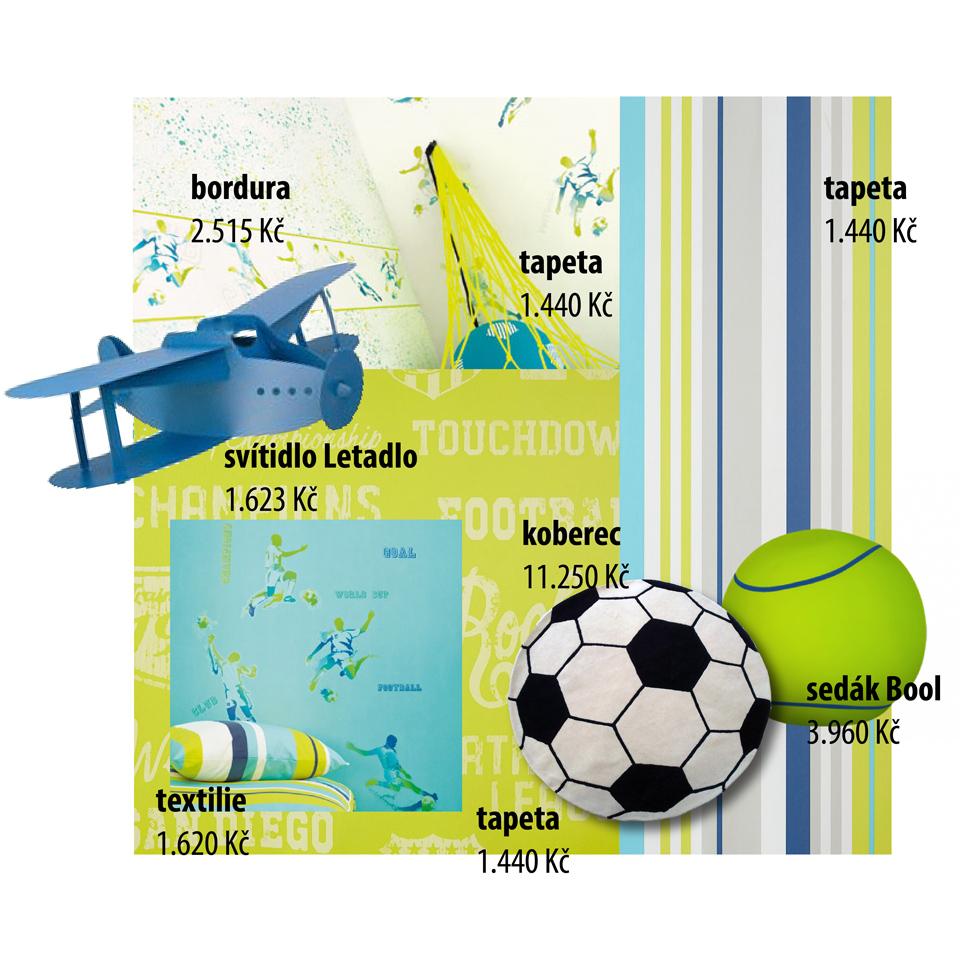 <p>Pro kluky, kteří nevydrží chvilku bez míče, pro fanoušky i budoucí šampiony tu máme jarně svěží kolekci. Jednotlivé tapety a bordury lze vzájemně kombinovat, takže nuda to rozhodně nebude!</p> <p>Textilie s nadčasovým designem lze využít na polštáře i závěsy, hodit se bude i fotbalový koberec</p> <p>nebo sedák ve tvaru velkého tenisáku.</p>