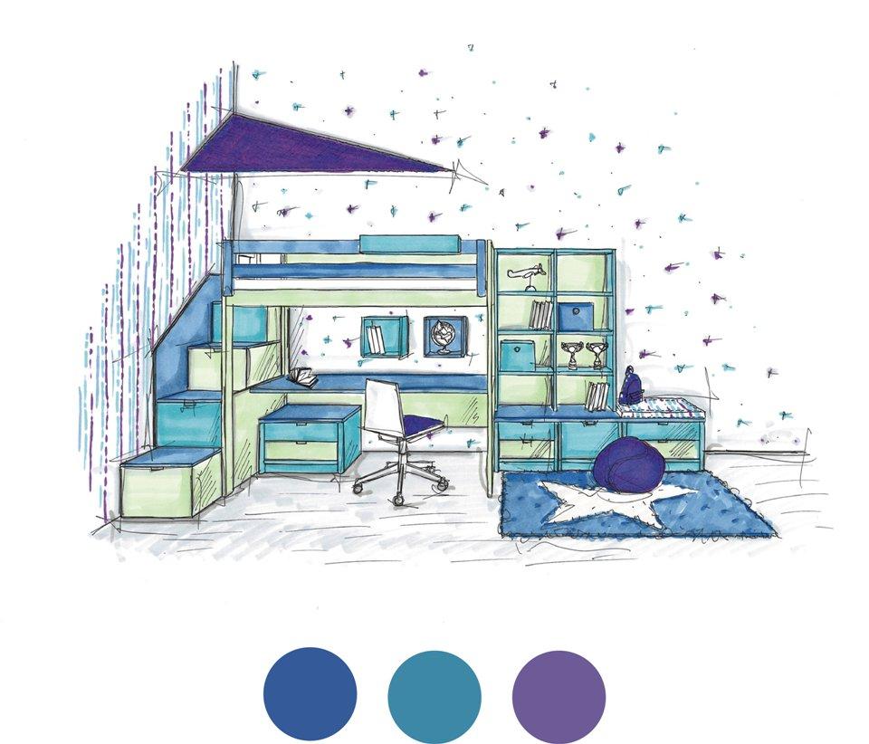 <p>My jsme se sebevědomím odstínu Ultra Violet ani v nejmenším nenechali zastrašit. S nadšením jsme přijali výzvu a navrhli v nových barvách pokojík pro kreativního teenagera.</p> <p></p>