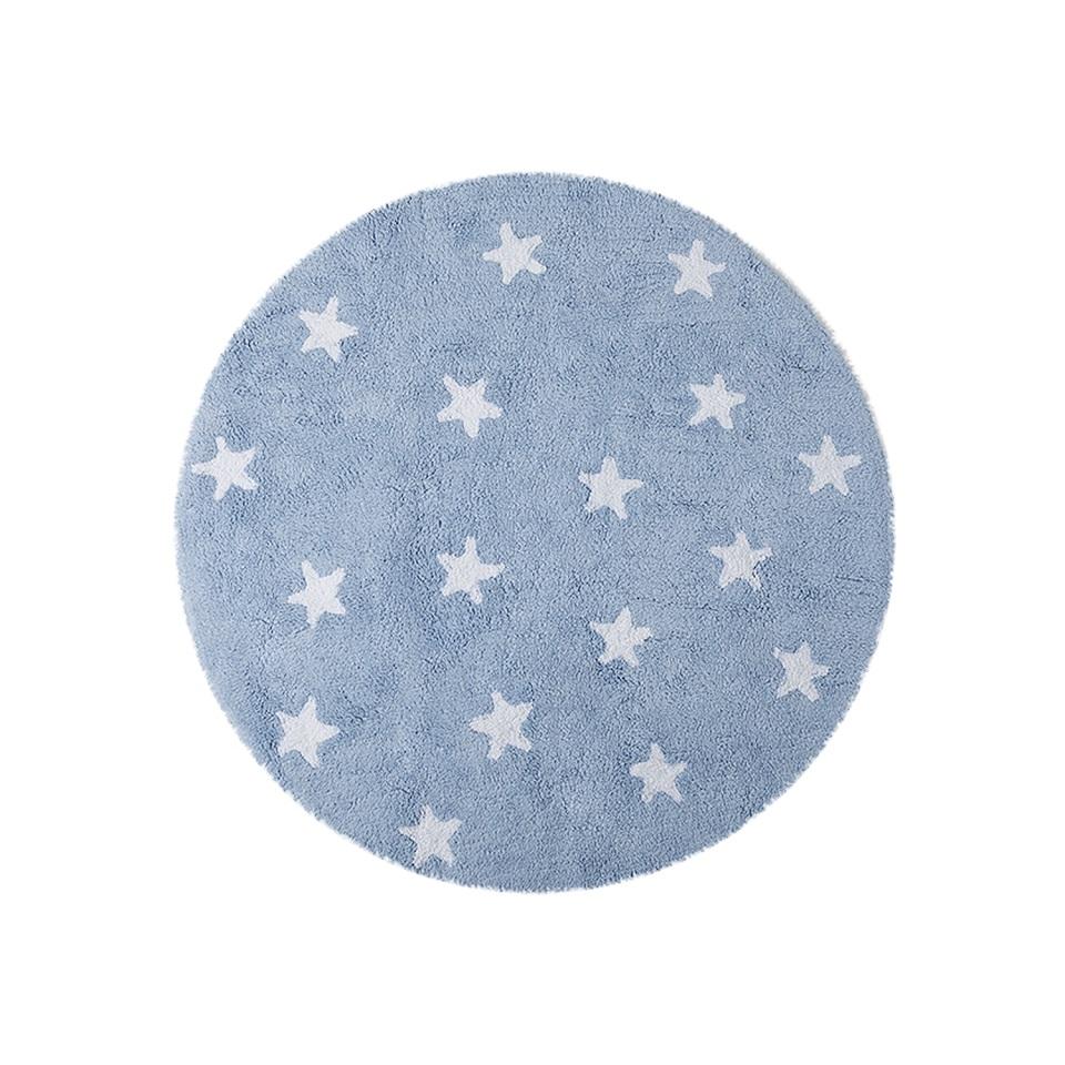 <p>Koberec s bílými hvězdičkami průměr 140cm. Podkladová barva světle modrá. 100% bavlna</p> <p></p> <p></p> <p></p>
