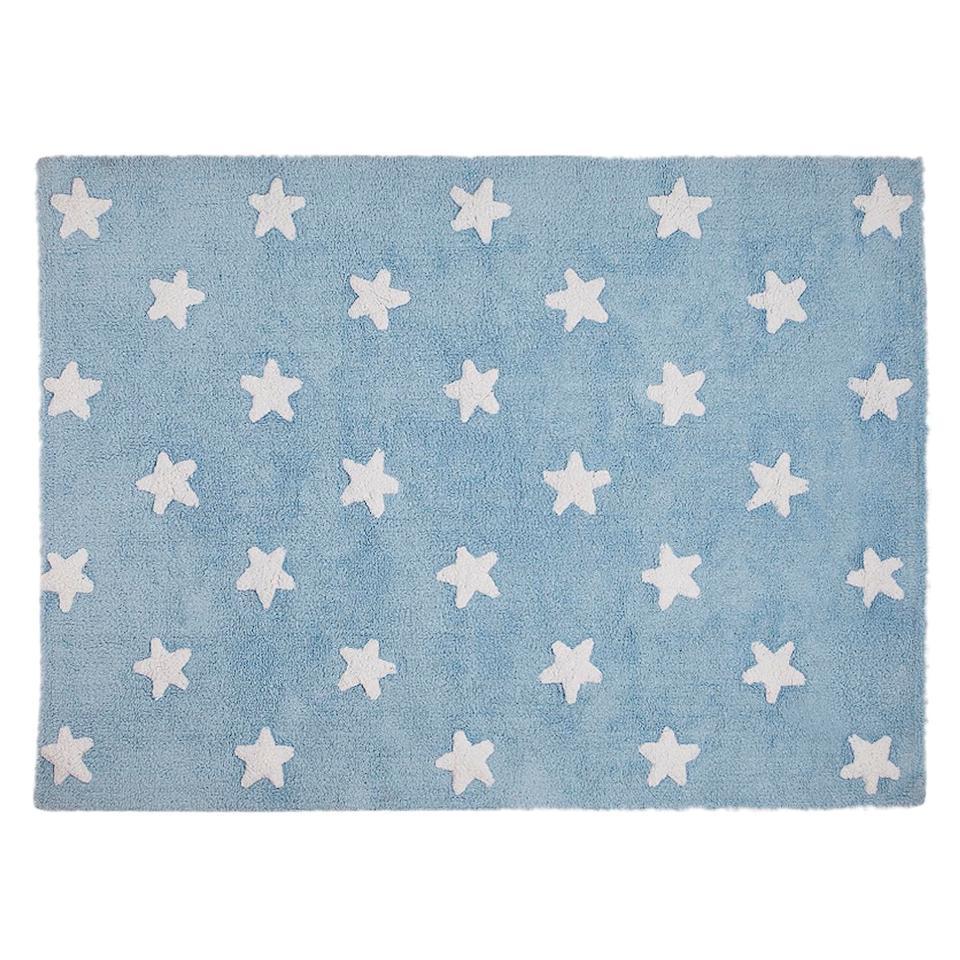 <p>Koberec s bílými hvězdičkami 120*160cm. Podkladová barva světle modrá, případně i růžová, šedá, hnědošedá. 100% bavlna</p>