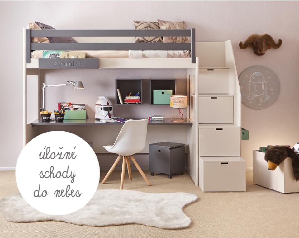 <p>Úložné schody do nebes! I to umíme. Pojmou velké množství hraček a pro maximální pohodlí a bezpečí jsou opatřeny bočním panelem využitelným jako zábradlíčko. Šířka postele 100 nebo 150cm, délka 190, 200, 210 cm. Výška postele 163cm (3 úložné schody) nebo 191cm (4 úložné schody).</p> <p></p> <p></p> <p></p>